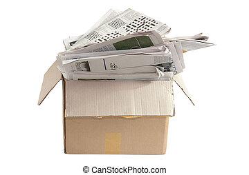 κουτί , από , γριά , εφημερίδεs , για , ανακυκλώνω