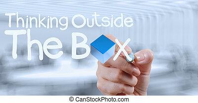 κουτί , γενική ιδέα , έξω , σκεπτόμενος