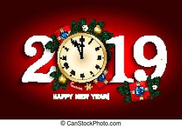 κουτί , δώρο , ρολόι , γλύκισμα , 2019, πεύκο , παράρτημα , έτος , καινούργιος , καλάμι , κάρτα