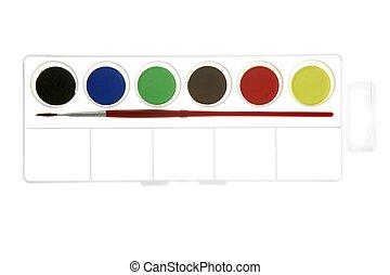 κουτί , καινούργιος , βούρτσα , watercolors