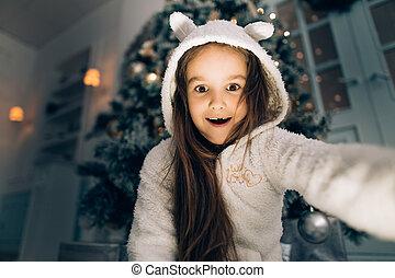 κουτί , μαγεία , δώρο , gifts., κορίτσι , παιδί , βρέφος δεσποινάριο , xριστούγεννα , ακάλυπτη θέση