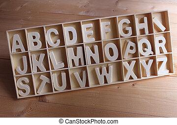 κουτί , ξύλινος , αγγλικός , θέτω , αλφάβητο