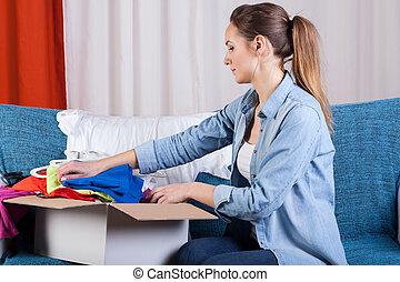 κουτί , πακετάρισμα , κυρία , ρούχα