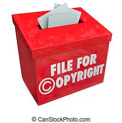 κουτί , πνευματικά δικαιώματα , διανοούμενος , άγκιστρο για ανάρτηση εγγράφων , είσοδοs , ιδιοκτησία, περιουσία , protec , κόκκινο , 3d