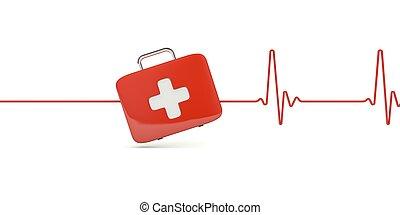 κουτί πρώτων βοηθειών , με , καρδιοχτύπι , απομονωμένος , αναμμένος αγαθός