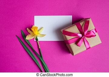 κουτί , ροζ , δώρο , άνοιξη , μανουσάκι , μήνυμα , flowers.yellow, κάρτα