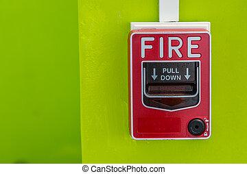 κουτί , συναγερμός πυρκαγιάς , τοίχοs , παραγγελία , πράσινο , ασφάλεια , κόκκινο