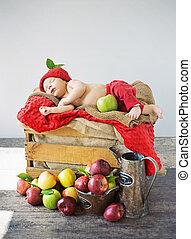 κουτί , χαριτωμένος , μπόμπιραs , μήλο , κοιμάται
