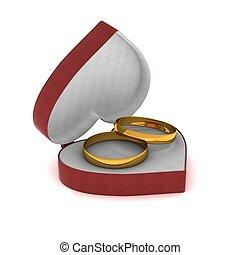 κουτί , heart., δώρο , χρυσός , δακτυλίδι , μορφή , 3d , image.