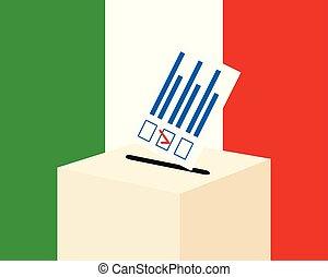 κουτί , italy., χαρτί , εκλογή , ψηφοφορία , δέμα