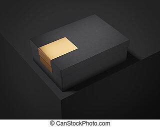 κουτί , sticker., χρυσαφένιος , απόδοση , μαύρο , 3d