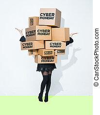 κουτιά , γυναίκα , νέος , δώρο , ανάμιξη