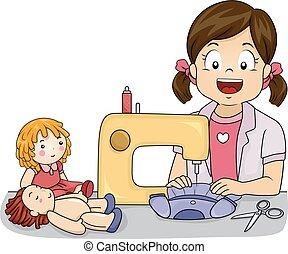 κούκλα , ραπτομηχανή , απασχόληση , κορίτσι , φόρεμα , παιδί