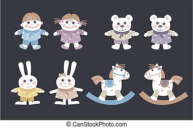 κούκλες , και , γεμιστά παιχνίδια ζωάκια