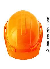 κράνος , απόκομμα , καπέλο , ανώτατος , σκληρά , απομονωμένος , ασφάλεια , πορτοκάλι , άσπρο , path., ή , βλέπω
