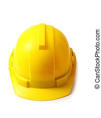κράνος , απόκομμα , isolated., σκληρά , κίτρινο , ασφάλεια , αγαθός καπέλο , ατραπός