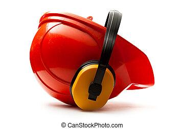 κράνος , κόκκινο , ασφάλεια , ακουστικά