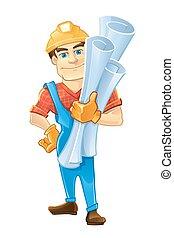 κράνος , οικοδόμος , εργάτης κατάλληλος για διάφορες εργασίες , drawings., δομή , ή