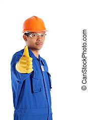κράνος , πάνω , εργάτης , απομονωμένος , ασφάλεια , αντίστοιχος δάκτυλος ζώου , άσπρο
