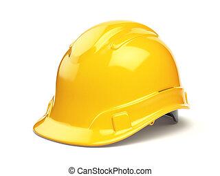 κράνος , σκληρά , απομονωμένος , κίτρινο , ασφάλεια , καπέλο , άσπρο