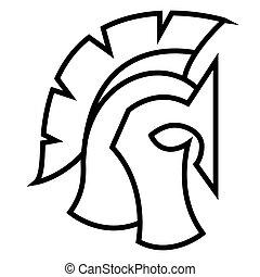 κράνος , gladiator, soldier., legionnaire, πολεμιστής , spartan, - , περίγραμμα , ελληνικά , ρωμαϊκός , ή