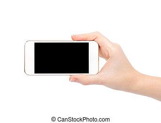 κράτημα , άγγιγμα , απομονωμένος , τηλέφωνο , γυναίκα ανάμιξη , άσπρο