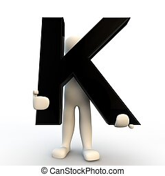 κράτημα , άνθρωποι , χαρακτήρας , k , μικρό , μαύρο , ανθρώπινος , γράμμα , 3d