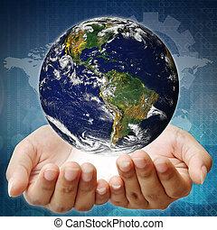 κράτημα , ένα , γη , επάνω , hands., γη , εικόνα , προμήθευσα , από , nasa.