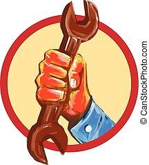 κράτημα , αγγλικό κλειδί , μηχανικός , νερομπογιά , κύκλοs , χέρι