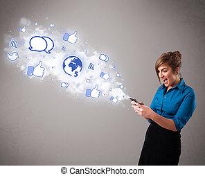 κράτημα , απεικόνιση , μέσα ενημέρωσης , νέος , τηλέφωνο , όμορφη , κοινωνικός , κορίτσι