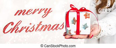 κράτημα , απονέμω , εύθυμος , κορίτσι , χριστουγεννιάτικη κάρτα