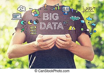 κράτημα , δεδομένα , smartphone, νέοs άντραs , δικός του , μεγάλος , γενική ιδέα