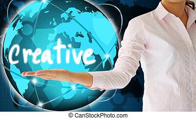 κράτημα , δημιουργικός , μέσα , δικός του , χέρι , δημιουργικός , γενική ιδέα