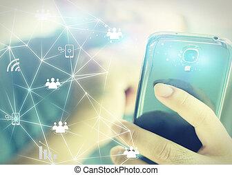 κράτημα , επιχειρηματίας , δίκτυο , κοινωνικός , concept.