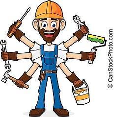 κράτημα , εργαλεία , εργάτης κατάλληλος για διάφορες εργασίες