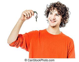 κράτημα , κλειδιά , άντραs , πορτραίτο , νέος