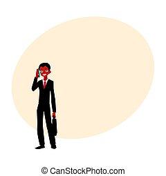 κράτημα , μαύρο , λόγια , αμερικανός , τηλέφωνο , αφρικανός , businessman ακουμπώ , χαρτοφύλακας