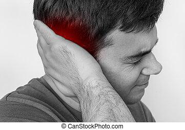 κράτημα , οδυνηρός , άντραs , αυτί , δικός του , πόνοs στο αυτί