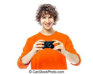 κράτημα , φωτογράφος , άντραs , πορτραίτο , φωτογραφηκή μηχανή , νέος