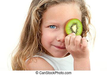 κράτημα , fruit., πάνω , ξανθή , κλείνω , κορίτσι