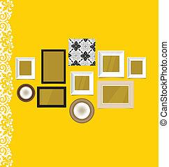 κρασί , αποτελώ το πλαίσιο , επάνω , κίτρινο , τοίχοs , μικροβιοφορέας , illustration.