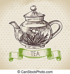 κρασί , δραμάτιο , illustration., τσάι , χέρι , φόντο. ,...
