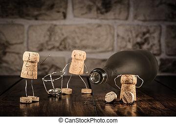 κρασί , καινούργιος , φελλός , αρχή , άγαλμα , γενική ιδέα