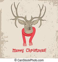 κρασί , κεφάλι , ελάφι , χριστουγεννιάτικη κάρτα