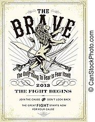 κρασί , λιοντάρι , μικροβιοφορέας , ξίφος , αφίσα