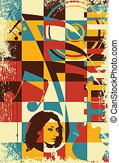 κρασί , μουσική , αφίσα