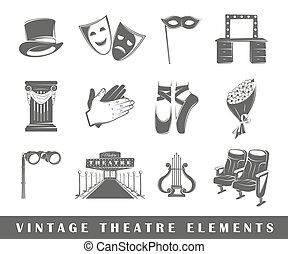 κρασί , στοιχεία , θέατρο