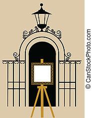 κρασί , στρίποδο , πάρκο , ζωγραφική , πύλη