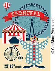 κρασί , τσίρκο , ή , καρναβάλι , αφίσα