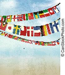 κρασί , φόντο , με , κόσμοs , χοντρό μάλλινο ύφασμα , flags., μικροβιοφορέας , εικόνα